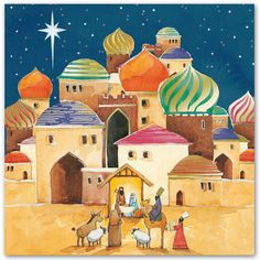 O Little Town - Shop with The Royal Marsden Cancer Charity Christmas Card Packs, Christmas Scenes, Christmas Nativity, Christmas Art, Church Banners Designs, Idees Cate, Moroccan Art, Mobile Art, Naive Art