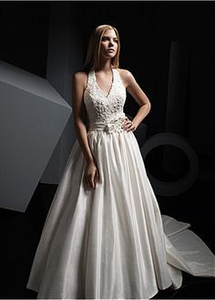 ELEGANT TAFFETA A-LINE HALTER NECKLINE WEDDING DRESS WITH BEADED LACE APPLIQUES HANDWORK FLOWERS