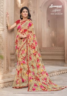 Explore the Laxmipati Multicolour #Georgette #Printed_Saree and Red Georgette Blouse along with Rawsilk Lace Border for Your Special Occasion. #Catalogue #JAMUNIA #DesignNumber: 4535 #Price - ₹ 1475.00  #Bridal #ReadyToWear #Wedding #Apparel #Art #Autumn #Black #Border #MakeInIndia #CasualSarees #Clothing #ColoursOfIndia #Couture #Designer #Designersarees #Dress #Dubaifashion #Ecommerce #EpicLove #Ethnic #Ethnicwear #Exclusivedesign Laxmipati Sarees, Indian Sarees, Saris, Saree Collection, Bridal Collection, Saree Shopping, Casual Saree, Dubai Fashion, Printed Sarees