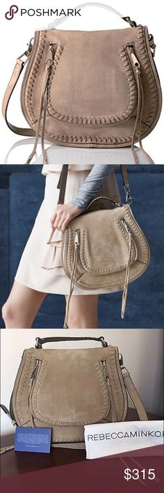 """SALE! Rebecca Minkoff Vanity Saddle Bag NWT Brand new with tags Rebecca Minkoff Vanity Saddle Bag in Sandstone Suede. This bag is gorgeous! Top carry handle plus adjustable Crossbody strap (21-24""""). Exterior zip pocket. Interior zip, wall and smartphone pockets. Signature jacquard lining. Signature swinging zip-pull tassels. Retailing in stores and online for $425. Comes with dust bag and authentication cards. Sale price is firm. Rebecca Minkoff Bags Shoulder Bags"""