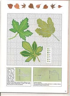Mixed green leaves cross stitch pattern (4) - free cross stitch patterns crochet knitting amigurumi