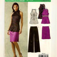 A Raised Waist, Halter-Style Top w/Neck Detail, Straight Skirt & Wide Leg Pants Pattern
