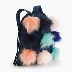 Girls' drawstring backpack with furry pom-poms : Girl Drawstring Backpacks Toddler Girl Style, Little Fashionista, Girl Backpacks, Girls Bags, Kids Sneakers, Stylish Kids, Girls Accessories, Girls Shopping, Drawstring Backpack