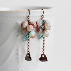 Czech Glass Cluster Earrings Heart Charm Dangle by YuniDesigns