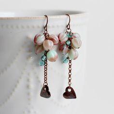 Czech Glass Cluster Earrings Heart Charm Dangle by YuniDesigns