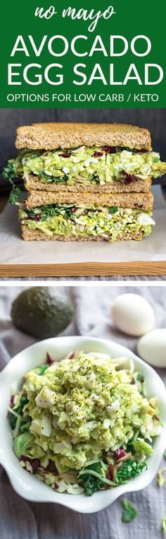 his Avocado Egg Salad is a delicious and healthier twist on the classic favorite and the perfect way to use up those hard boiled eggs from Easter. Best of all, super creamy & mayo free. Greek yogurt makes this lighter and full of flavor. Make it ahead for meal prep Sunday for work or school lunches. Enjoy alone, with some toasted bread or lettuce wraps for a low carb and keto friendly version. #lunch #easter #hardboiledeggs #eggsalad #lowcarboption #ketooptions #keto #lowcarb #avocado