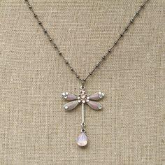 Anne Koplik Designs: Rose Opal Teardrop Dragonfly Necklace
