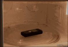 Why you shouldn't microwave a cell phone. AM I SEEING IT'S LIKE THE REBIRTH OF VOLDEMORT WHAT IN THE WORLD?!?