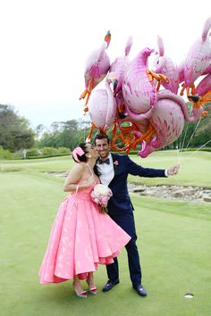 A FUN FLAMINGO EXTRAVAGANZA WEDDING WITH INFLUENCE FROM KATY PERRY AND GRAY MALIN | PHOTOGRAPHY: http://www.eleisetheuerphotography.com
