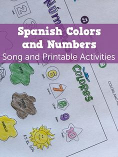 Spanish colors and Spanish numbers in a upbeat song for kids. Printable coloring sheet with the lyrics for kids to sing along, color and learn.