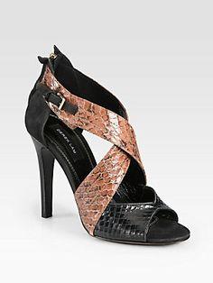 Derek Lam Layn Snakeskin & Suede Crisscross Sandals