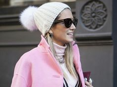 Beanie and pink coat
