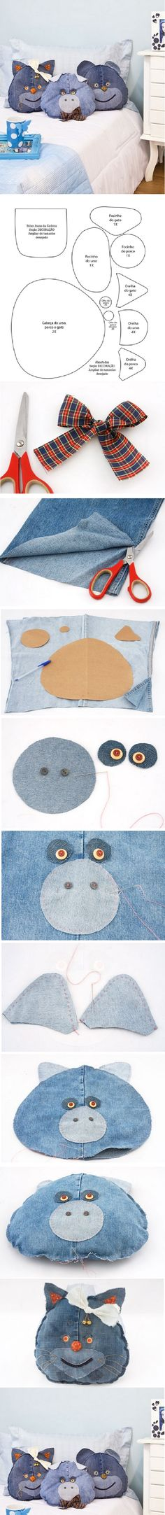 DIY Funny Jeans Pillows. I like the concept, but something about these guys creeps me out. Got to work on those facial features.