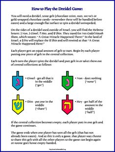 How to play dreidel for those who don't know.