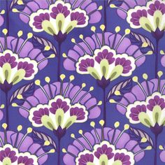 Kate Spain for Moda Fabric -Good Fortune Collection-Reflection -Metro Floral Lantern Flower - Purple