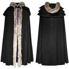 Black Fur Hooded Gothic Fashion Cloak SKU-11401519