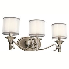 """Kichler Lacey 3 Light 22"""" Wide Vanity Light Bathroom Fixture with Organza Shades and Diffusers - Antique Pewter Primary Image"""
