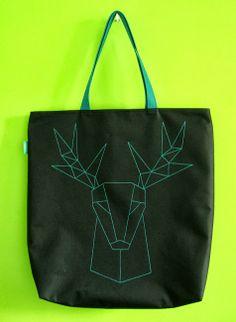 lukola handmade // Duża torba z geometrycznym jeleniem // Big geometric deer bag