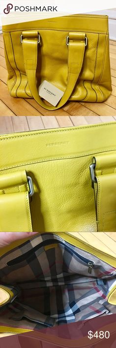 Burberry Bag ✨ Authentic Burberry shoulder bag! Bought from Burberry store. A great size shoulder bag, very spacious ! Burberry pattern on inside. Slight wear on corner, pictured above. Color is best displayed in 1st picture. It's more of a mustard yellow. REASONABLE OFFERS WELCOME! ✨Measurements:   Body - 14 inch / with strap - 21 inch  Width at widest - 14.5 inch Burberry Bags Shoulder Bags