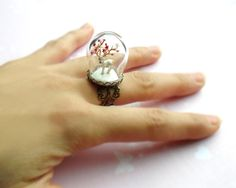 White red deer with red stars on antlersTerrarium ring by HoKiou
