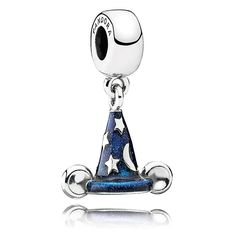 Disney Park Pandora Exclusive Mickey Sorcerer Hat Sterling Silver Charm In Hand