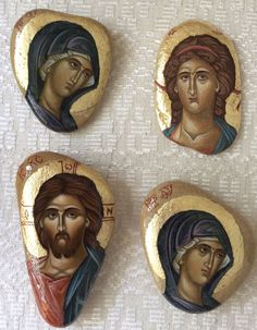 Small icons of Christ, the Theotokos and possibly St. Religious Images, Religious Icons, Religious Art, Byzantine Icons, Byzantine Art, Small Icons, Religious Paintings, Art Icon, Arte Popular