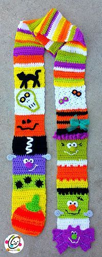 Crochet pattern: halloween sampler scarf and treat bags by Snappy Tots.