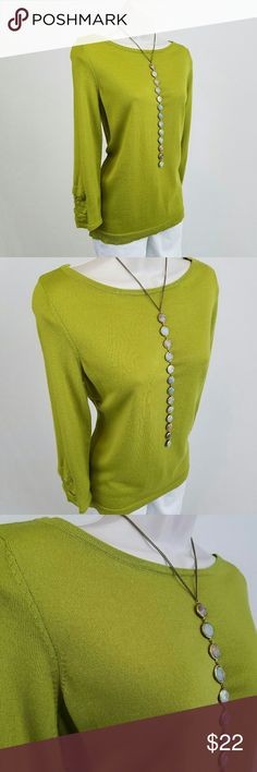 Lightweight avocado green sweater Long-sleeved boat neck sweater in avocado green with ruched detail at sleeve.  Bust 19 / length 25.5 inches.  50% merino wool, 50% acrylic.  Check out the rest of my closet to bundle & save!  Over 150 listings available with new listings every week! The Limited Sweaters