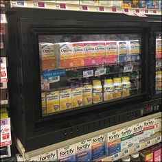 If you demand freshness even in-aisle, consider this Shelf-Top Inline Gondola Cooler Display. Tightly wedged between shelves this unit wastes little space. Cool Doors, Long Shelf, Money Cards, Store Fixtures, Gift Vouchers, Inline, Close Up, Retail, Shelves