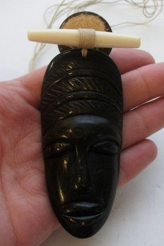 Vintage Carved Wood African Face Mask Pendant Necklace by onetime, $15.00