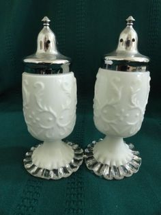 Fenton Spanish Lace White Milk Glass Silver Crest Salt and Pepper Shakers FINAL