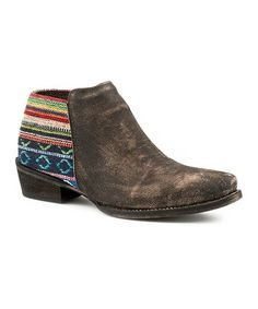 Love this Brown Serape-Contrast Leather Ankle Boot - Women on Leather Ankle Boots, Leather Men, Country Wear, Fashion Forward, Contrast, Brown, How To Wear, Wild West, Ranch
