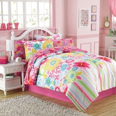 Bouquet 6-8 Piece Comforter and Sheet Set - Bed Bath & Beyond      Love this for girls