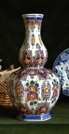 Beautiful vintage Delft Polychrome tall vase manufactured by a traditional art ceramics atelier from Velsen-north in Holland which history goes back to the early Blue Pottery, Pottery Art, Tall Vases, Glazed Ceramic, Delft, Shades Of Purple, Earthenware, Traditional Art, 1920s