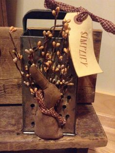 Antique Grater/Bunny Arrangement with Prim Tag and by PipBerryLane, $20.00