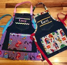 Custom order apron for boy or girl with embroidered name on top pocket! Made from recycled jeans trimmed with your choice of themed fabric! Every…