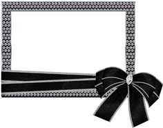 Silver Transparent PNG Photo Frame with Diamonds and Bow