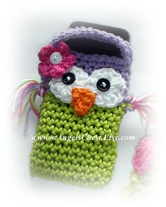 Cute Crochet OWL Cell Phone Cozy MP3 iPods Camera by AngelsChest