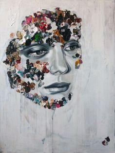 """#sandraChervrier La Cage blanche dans ce drame en couleur, 2012, acrylic on canvas, 40"""" x 30""""    Available: www.mirusgallery.com"""