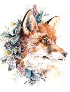 Fox- replace with man dogs in floral/fauna crown