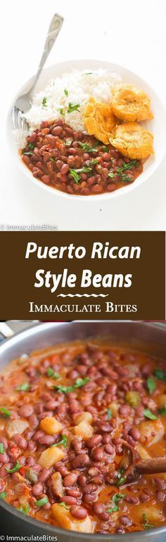 Puerto Rican Style beans – A hearty red beans simmered in an aromatic sauce with big bold flavors. Quick Easy Vegan and Simply Delicious. I