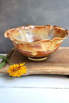 Ceramic Flower Bowl in Sunday Coffee 8 cup from Lee Wolfe Pottery