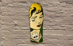 Jason Rowland aka R6D4 -stencil, aerosol, wood, food coloring  #jasonrowland #r6d4 #galerief #streetart #skateboard #vintageskateboard