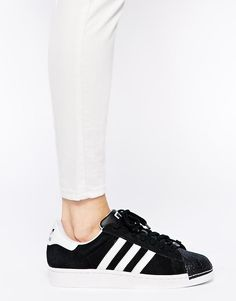 separation shoes 4125f 0e6fd Zapatillas de deporte negras con puntera Superstar II de Adidas Originals  at asos.com