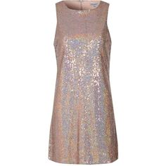 **Alice & You Rose Gold Sequin Shift Dress ($44) ❤ liked on Polyvore featuring dresses, gold, sequin embellished dress, sleeveless cocktail dress, sleeveless shift dress, brown dress and brown cocktail dress