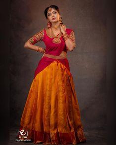 Half Saree Lehenga, Lehenga Saree Design, Saree Look, Lehenga Designs, Indian Bridesmaid Dresses, Indian Gowns Dresses, Indian Fashion Dresses, Anarkali Dress Pattern, Lehnga Dress