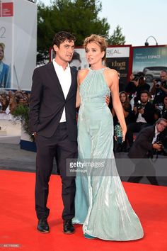 Riccardo Scamarcio and Valeria Golino attend a premiere for 'Per Amor Vostro' during the 72nd Venice Film Festival at Palazzo del Casino on September 11, 2015 in Venice, Italy.