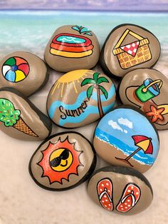 Take these Summer Story Stones with you on vacation and let your child tell summertime stories in his/her own words! This set of stones helps celebrate the fun times and sunny days of summer! These sets are hand-painted with acrylics on natural river rocks and sealed with a varnish.