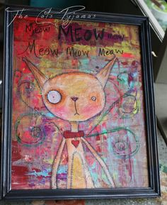 Funny odd-Eyed cat Painting abstract colorful background Meow Meow Meow Kitty by TheCatsPyjamas on Etsy $125.00