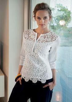 blusa con ricamo a fiori operato e scollo a v - #bllusademujer #mujer #blusa #Blouse